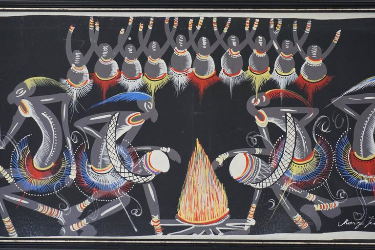 Congolese African Painting from Congo 1950s For Sale