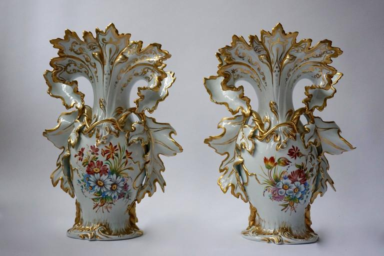 Great Pair Of Italian Porcelain Vases With Gold Leaf For Sale At 1stdibs