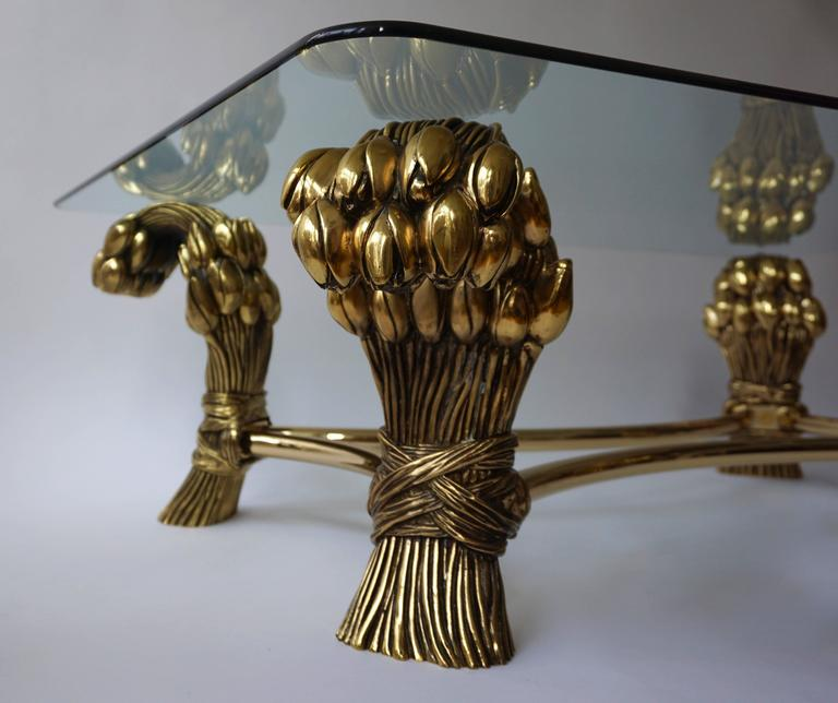 Glass and Brass Coffee Table in the Manner of Maison Jansen For Sale 3