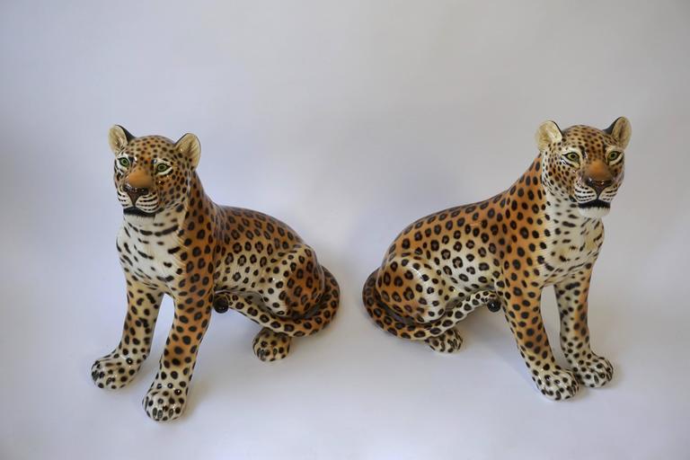 One Large Italian Mid-Century Modern Ceramic Cheetah Sculptures 2