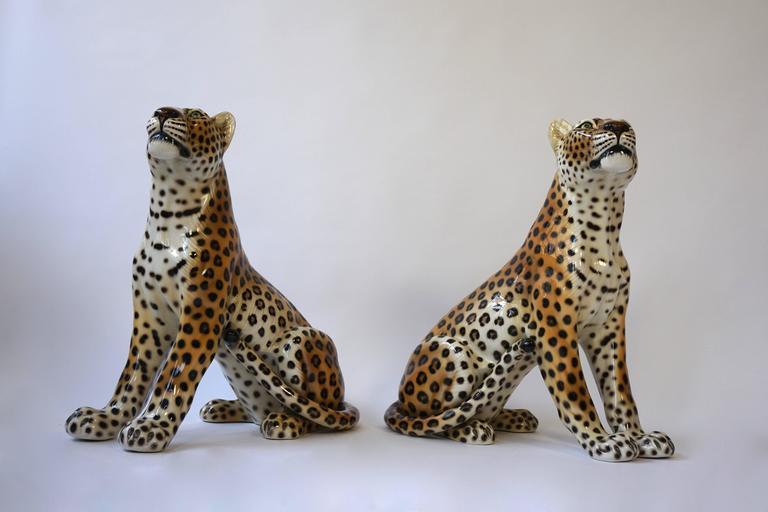 One Large Italian Mid-Century Modern Ceramic Cheetah Sculptures 4