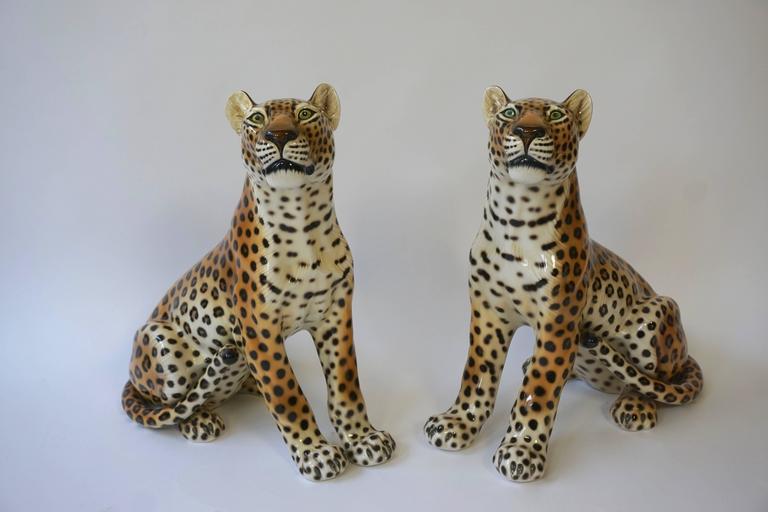 One Large Italian Mid-Century Modern Ceramic Cheetah Sculptures 5
