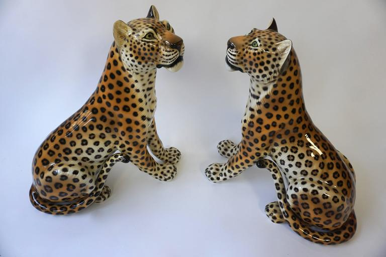 One Large Italian Mid-Century Modern Ceramic Cheetah Sculptures 6