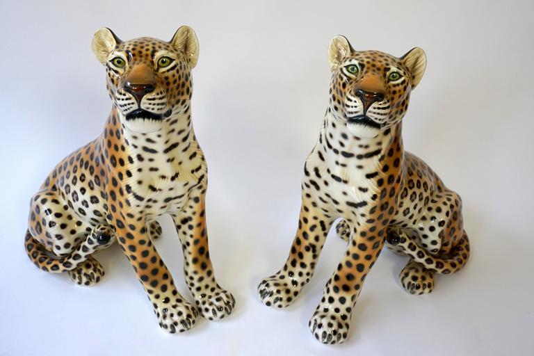 One Large Italian Mid-Century Modern Ceramic Cheetah Sculptures 8