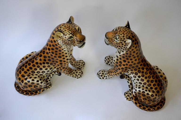 One Large Italian Mid-Century Modern Ceramic Cheetah Sculptures 7