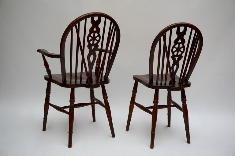 Wood Set of Six English Windsor Chairs For Sale