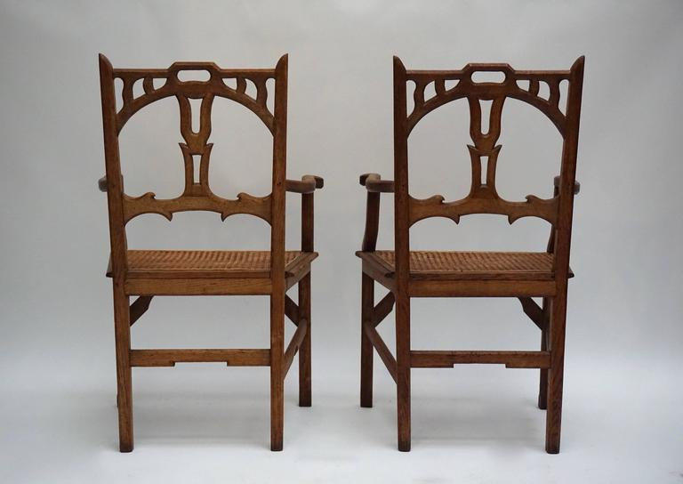 20th Century Two Italian Art Nouveau Carved Teak Armchairs For Sale