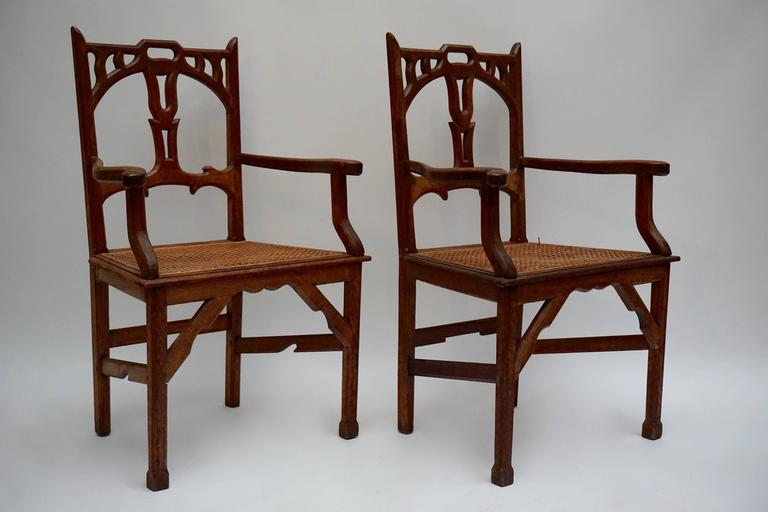 Two Italian Art Nouveau Carved Teak Armchairs In Good Condition For Sale In Antwerp, BE
