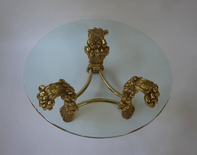 French Round Glass Coffee Table in the Manner of Maison Jansen For Sale