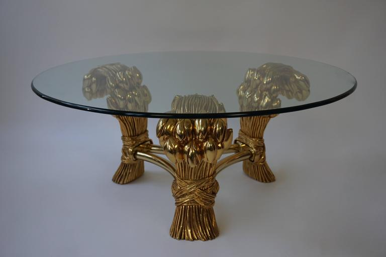 Hollywood Regency Round Glass Coffee Table in the Manner of Maison Jansen For Sale