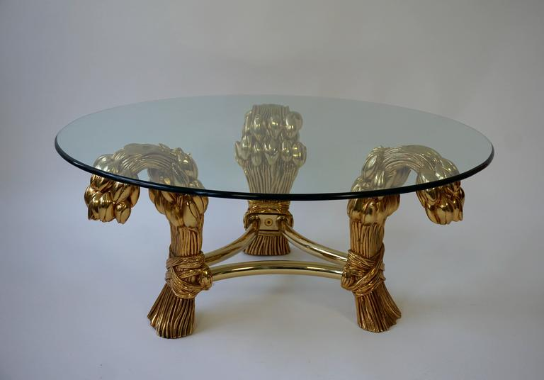 20th Century Round Glass Coffee Table in the Manner of Maison Jansen For Sale