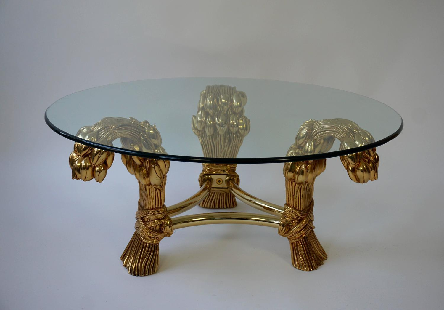 Round glass coffee table in the manner of maison jansen for Round glass coffee tables for sale