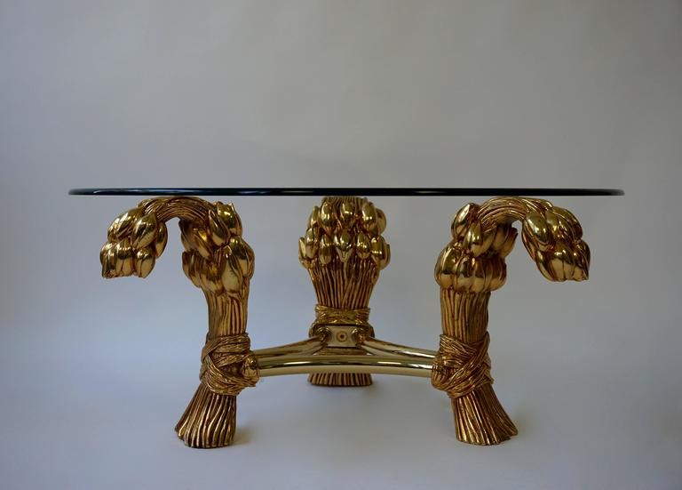 Brass Round Glass Coffee Table in the Manner of Maison Jansen For Sale