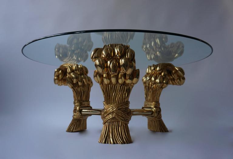 Round Glass Coffee Table in the Manner of Maison Jansen For Sale 1