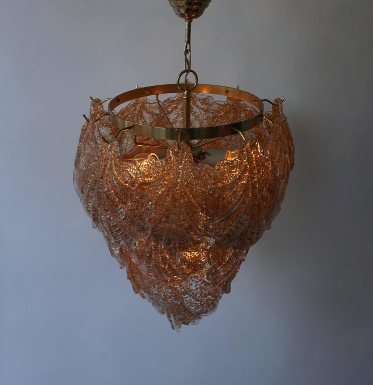 20th Century Three Brass and Murano Glass Chandeliers For Sale
