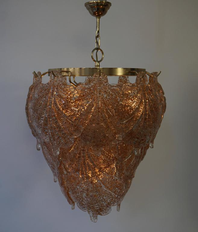 Three Brass and Murano Glass Chandeliers For Sale 1