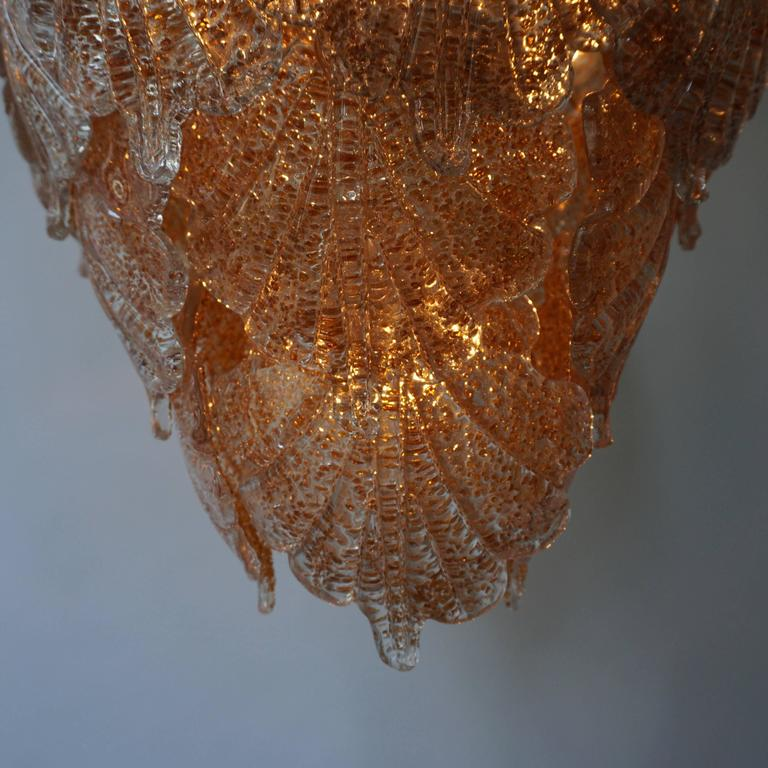 Three Brass and Murano Glass Chandeliers For Sale 2