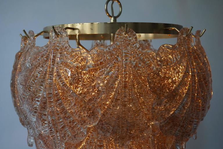 Three Brass and Murano Glass Chandeliers For Sale 4