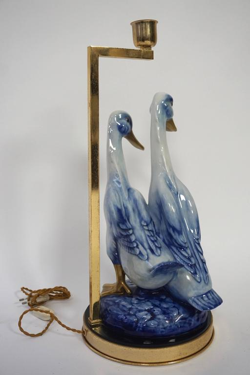 Italian Brass and Porcelain Duck Figurine Mounted as Table Lamp For Sale