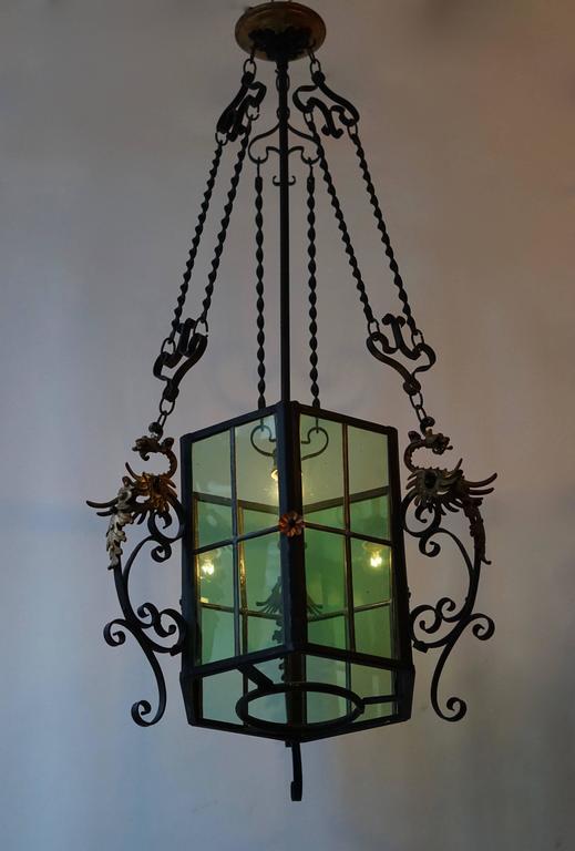 Mid-Century Modern Wrought Iron Lantern Light Fixture For Sale