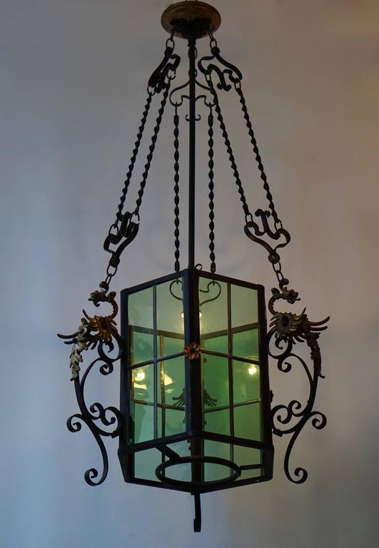 French Wrought Iron Lantern Light Fixture For Sale