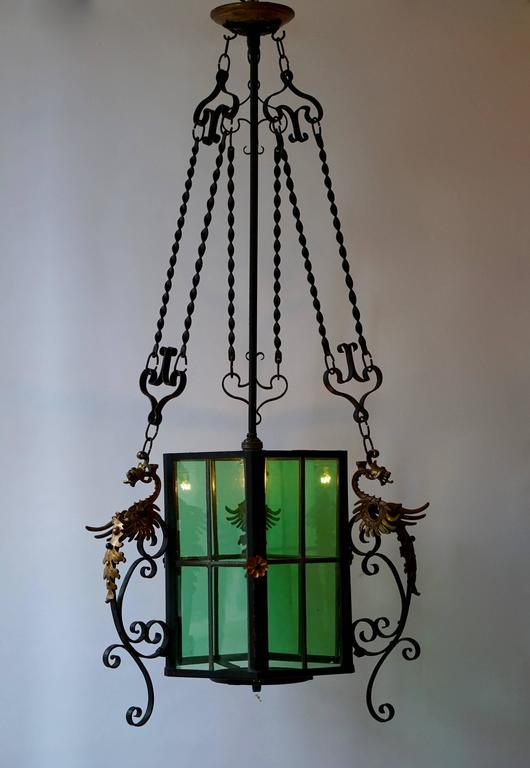 Wrought Iron Lantern Light Fixture In Good Condition For Sale In Antwerp, BE