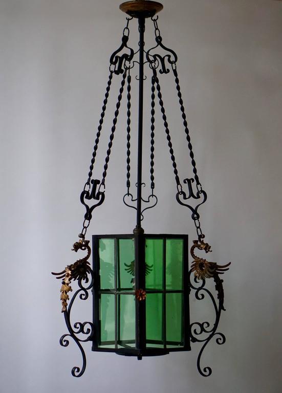Brass Wrought Iron Lantern Light Fixture For Sale