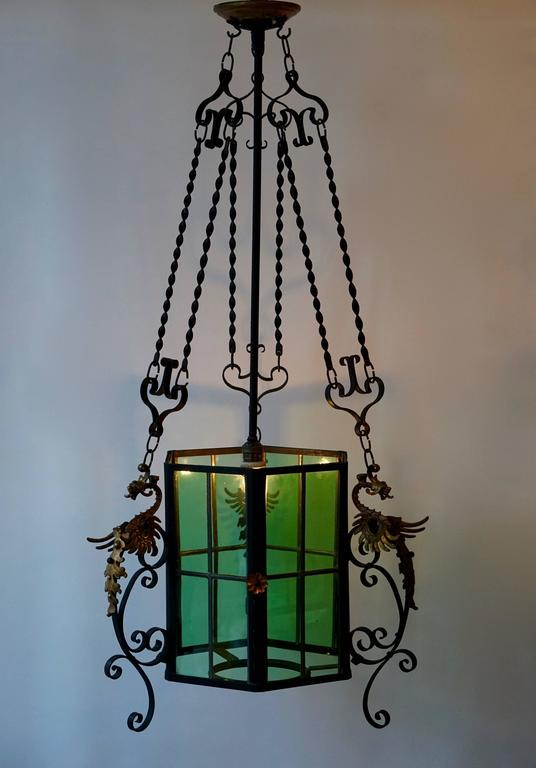 Wrought Iron Lantern Light Fixture For Sale 1