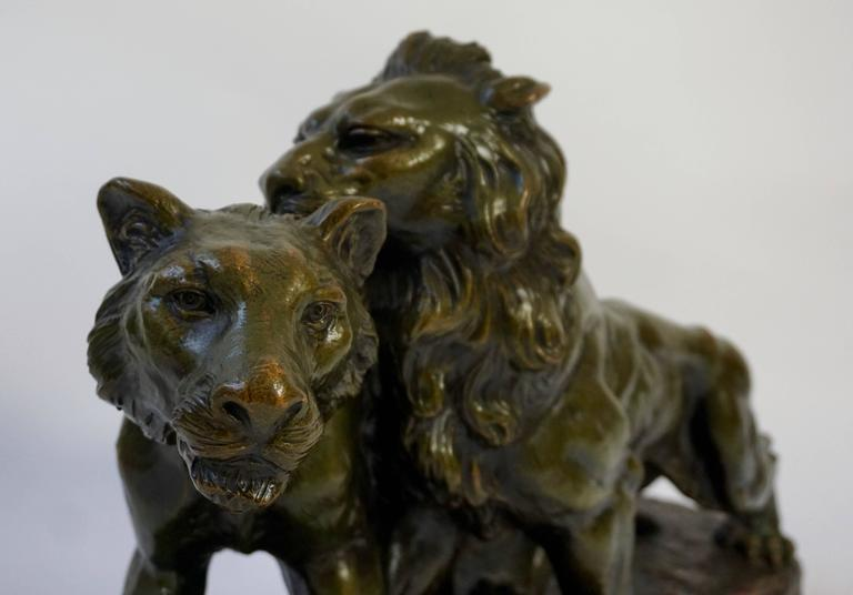 20th Century Art Deco Terracotta Lions Sculpture For Sale