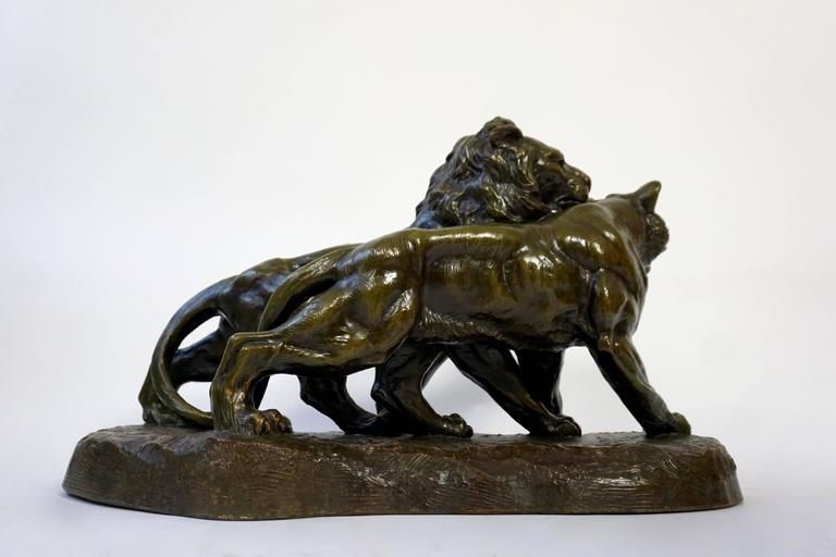 Art Deco Terracotta Lions Sculpture In Good Condition For Sale In Antwerp, BE