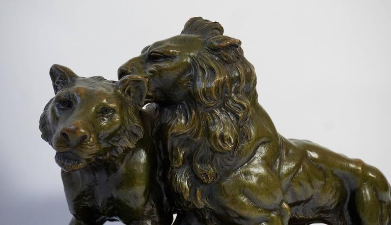 Art Deco Terracotta Lions Sculpture For Sale 1