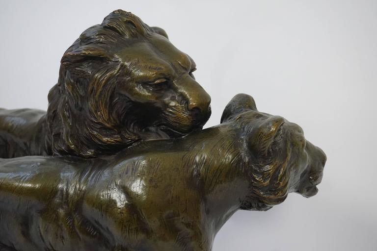 Art Deco Terracotta Lions Sculpture For Sale 3
