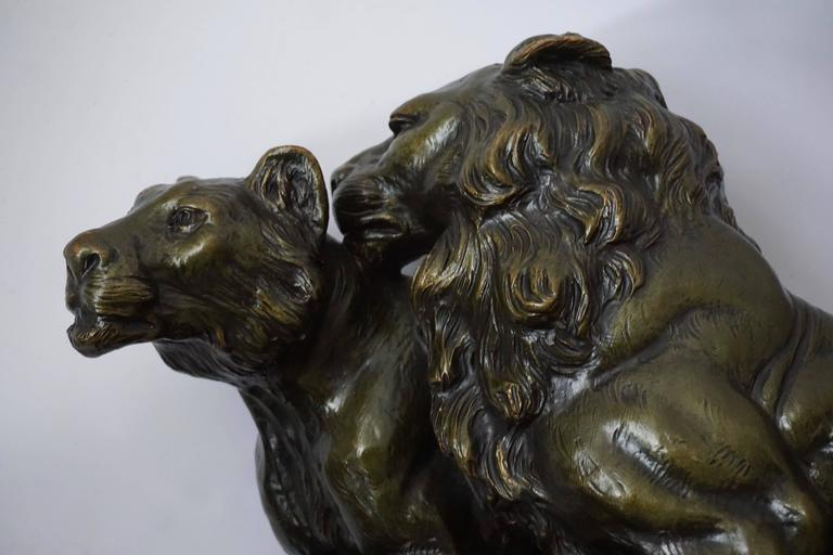 Art Deco Terracotta Lions Sculpture For Sale 2