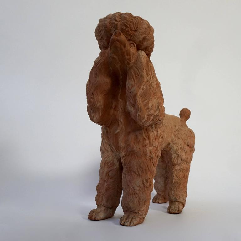 Terra Cotta Poodle Poodle Dog Sculpture In Good Condition For Sale In Antwerp, BE