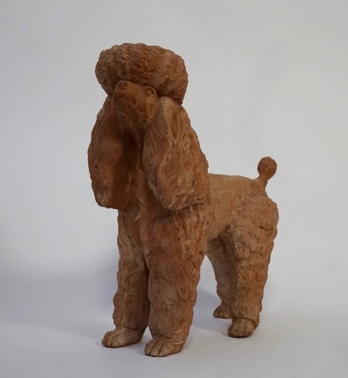 Italian Terra Cotta Poodle Poodle Dog Sculpture For Sale