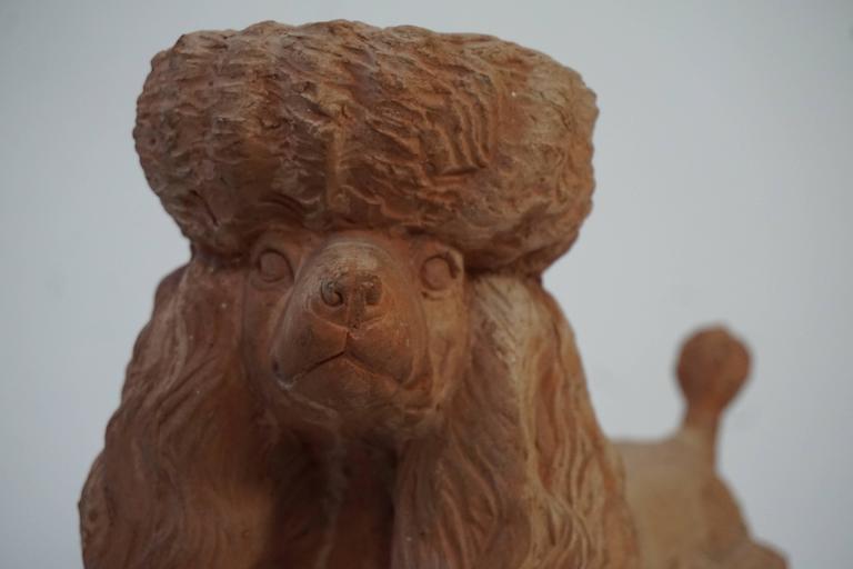 Terra Cotta Poodle Poodle Dog Sculpture For Sale 2