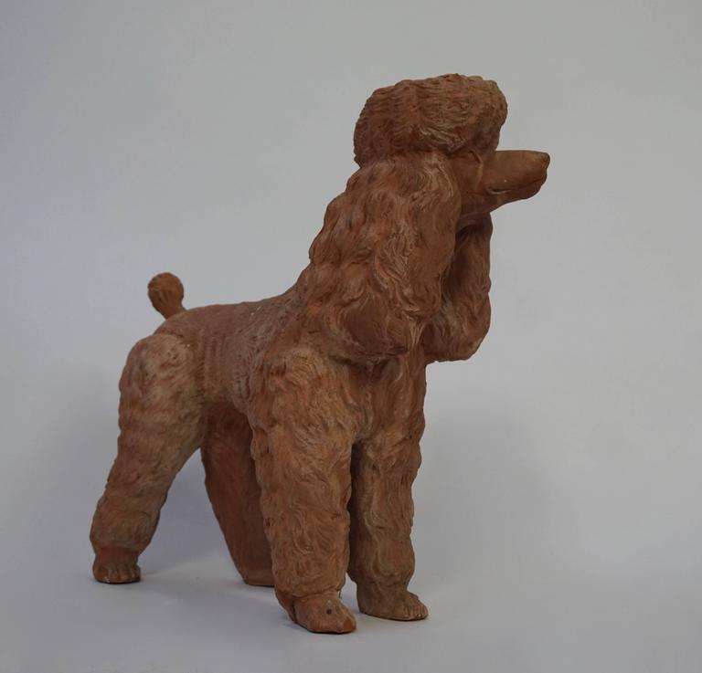 Mid-Century Modern Terra Cotta Poodle Poodle Dog Sculpture For Sale