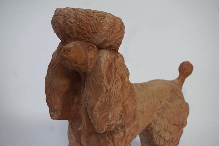 Terra Cotta Poodle Poodle Dog Sculpture For Sale 3