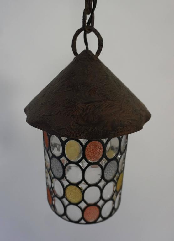 Italian Stained Glass Chandelier, Lantern In Good Condition For Sale In Antwerp, BE