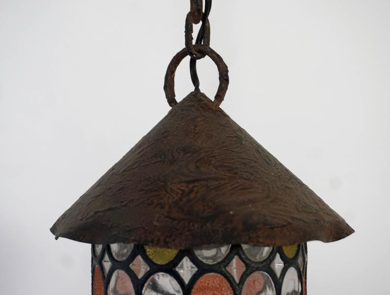 Italian Stained Glass Chandelier, Lantern For Sale 1