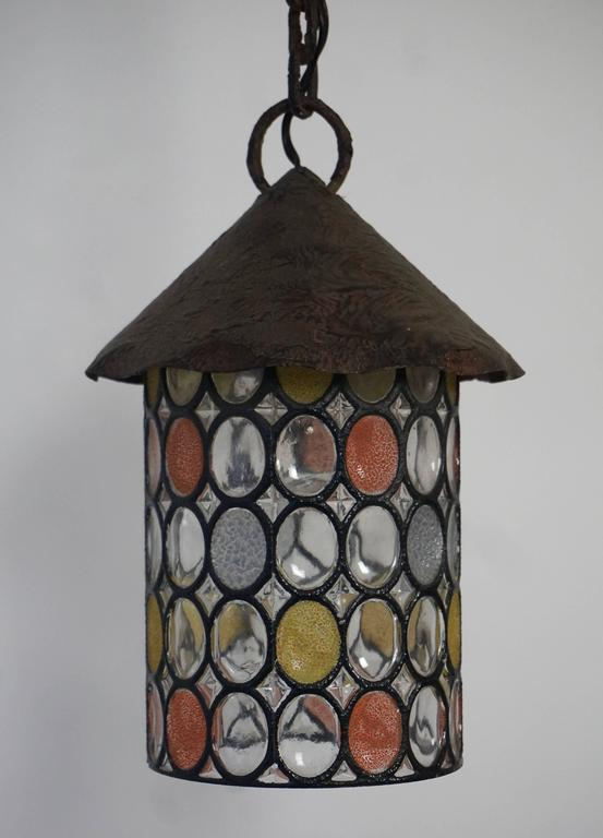 Mid-Century Modern Italian Stained Glass Chandelier, Lantern For Sale