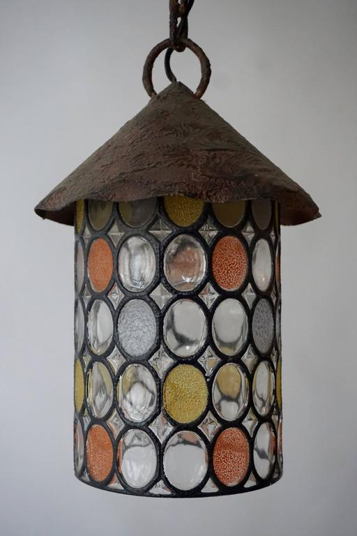 Italian stained glass lantern or pendant light fixture.