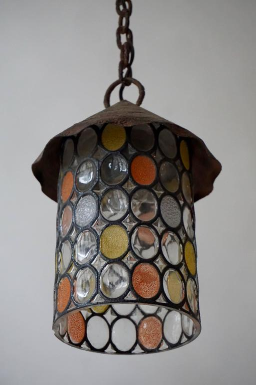 20th Century Italian Stained Glass Chandelier, Lantern For Sale
