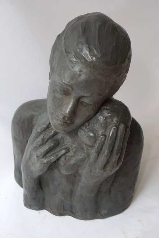 Belgian Sculpture of a Mother with Baby For Sale