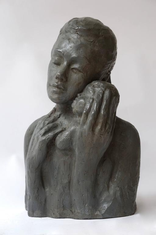 Plaster Sculpture of a Mother with Baby For Sale