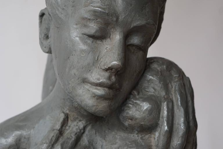 Sculpture of a Mother with Baby For Sale 1