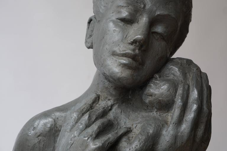 Sculpture of a Mother with Baby For Sale 2