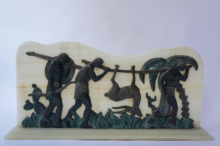 20th Century Art Deco Bronze and Onyx Hunting Sculpture For Sale