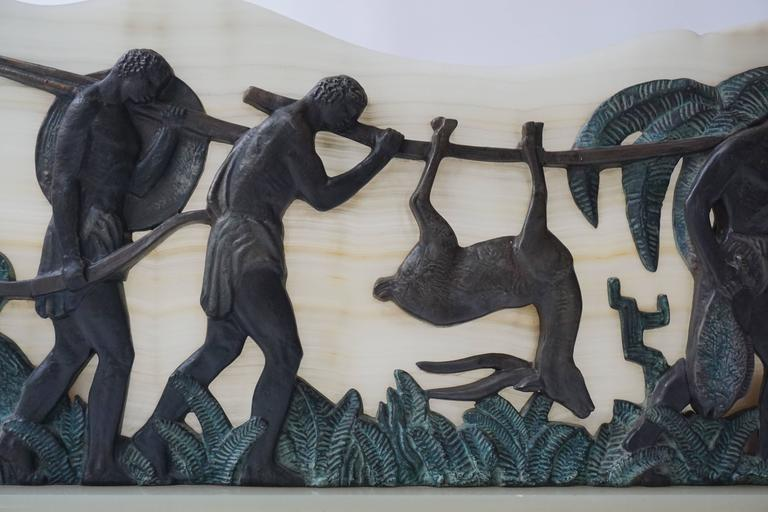 Art Deco Bronze and Onyx Hunting Sculpture For Sale 2