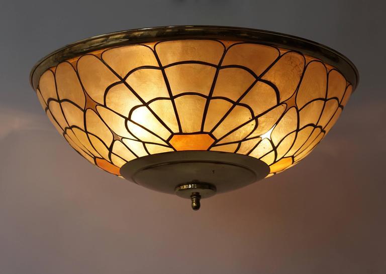 Italian flush mount light or wall light. Measures: Diameter 50 cm. Hight 12 cm. Four E27 bulbs.